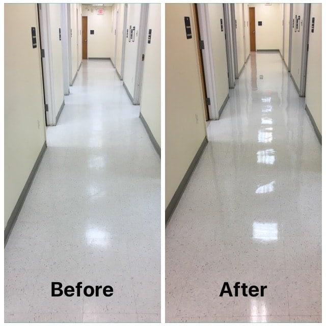 Cleaning VCT flooring NJ dentist office