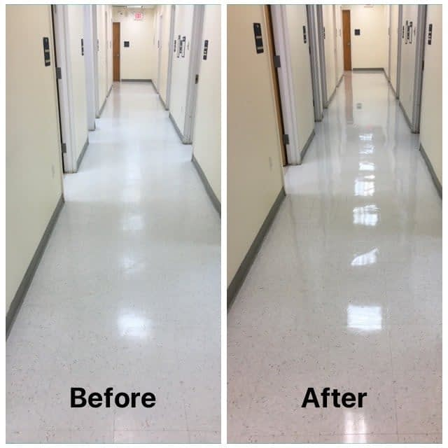 Cleaning VCT flooring NJ dentist office